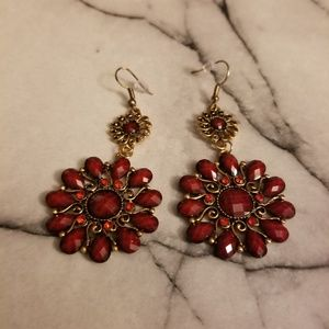 Jewelry - Red Retro Water-Drop Bronze Petal Earrings